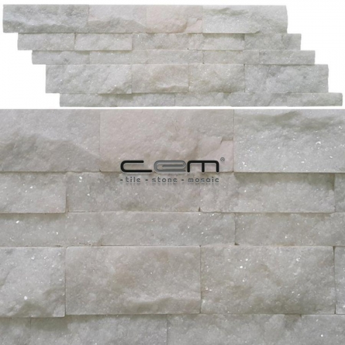 Bianco Ibiza White Marble Z Panel Split Face Mosaic