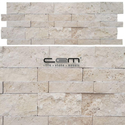 Ivory Light Travertine Panel Wall Cladding Split Face Mosaic