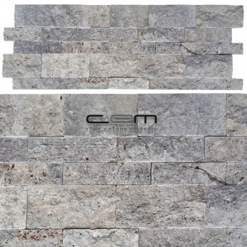 Silver Travertine Wall Cladding Split Face Wall Cladding