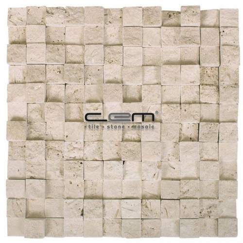 1x1  - 2,5cmx2,5cm - Classic Travertine Cubic Split Face Mosaic
