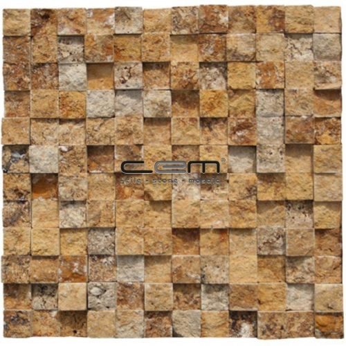 1x1 -2,5cmx2,5cm- Gold-Yellow Travertine Cubic Split Face Mosaic