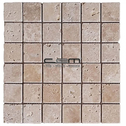 2x2 - 48mmx48mm Classic Travertine Tumbled Antique Look Mosaic