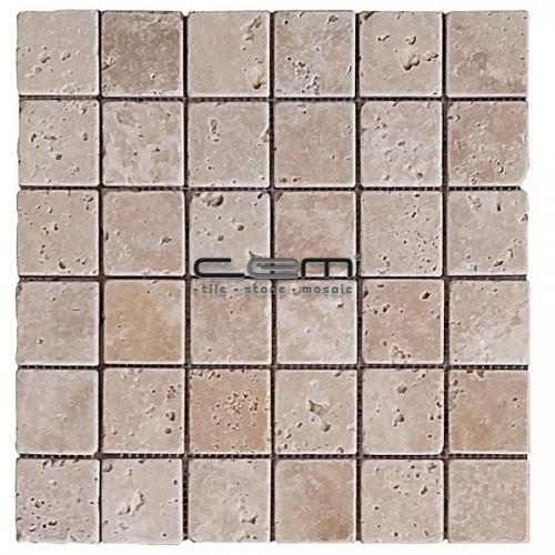 2x2 - 48mmx48mm Classic Travertine Tumbled Antique Look Mosaic