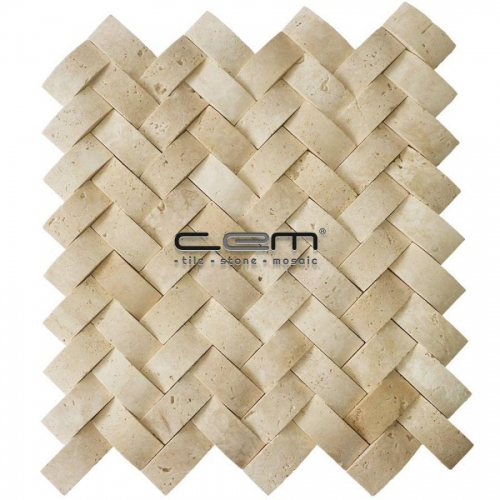 1x2 - 23mmx48mm Classic Travertine Herringbone Bambu Mosaic