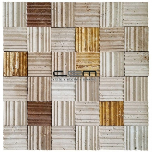 2X2 - 48mmx48mm Mix Travertine Special Baseboard Mosaic