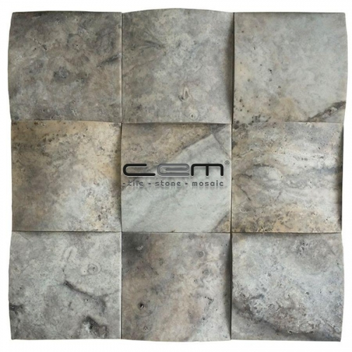 4x4 - 100mmx100mm Silver Travertine Square Bambu Mosaic