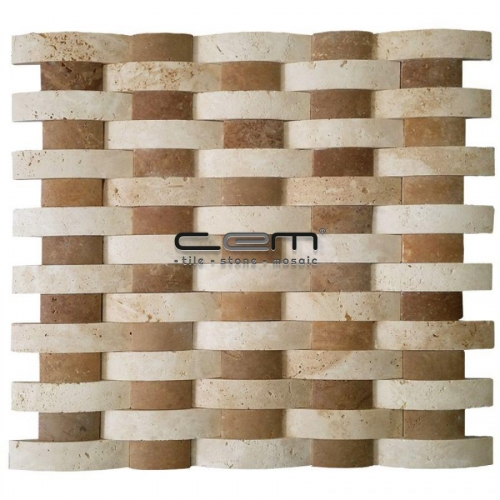 Classic Noche Travertine Thin Bambu Special Mosaic