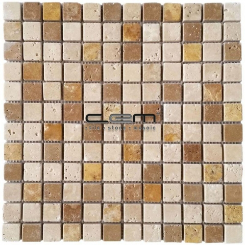1x1 23mmx23mm Multicolor Blend Mix Travertine Tumbled Mosaic