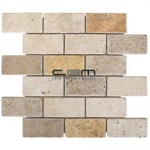 2x4 - 48mmx100cm Multicolor Blend Mix Travertine Tumbled Mosaic