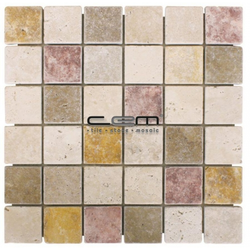 2x2 - 48mmx48mm Multicolor Blend Mix Travertine Tumbled Mosaic