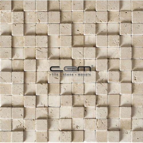 1x1 -23mmx23mm Ivory Classic Travertine Cubic Mosaic
