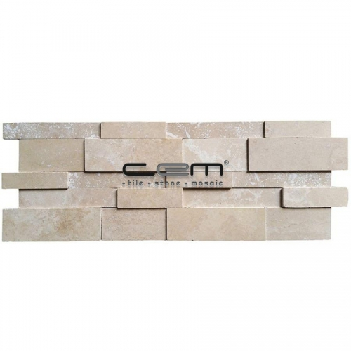 Ivory Travertine 3D Cubic Wall Cladding Mosaic