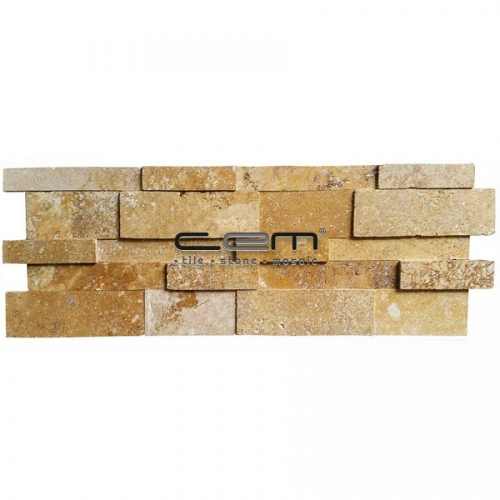 Gold-Yellow Travertine 3D Cubic Wall Cladding Mosaic