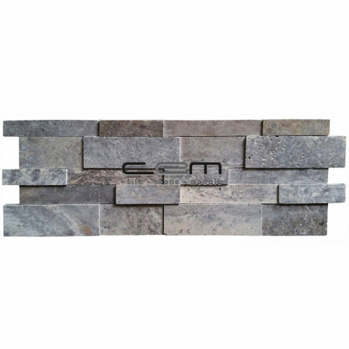Silver Travertine 3D Cubic Wall Cladding Mosaic