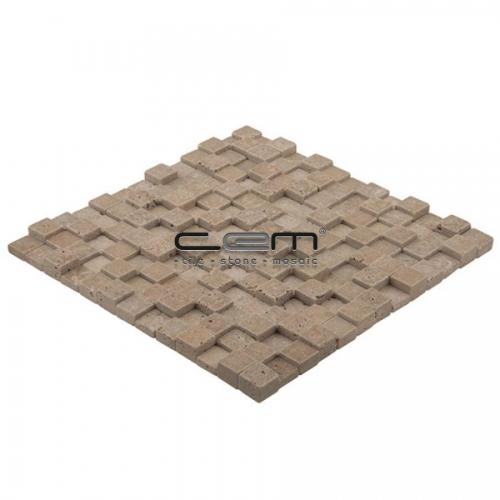 1x1 - 23mmx23mm Noche Travertine Cubic Tumbled Mosaic