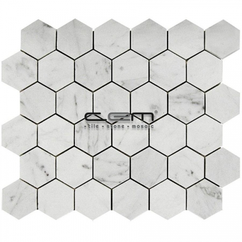 2x2 - 48mmx48mm White Bianco Carrara Honey Comb Hexagon Polished Mosaic