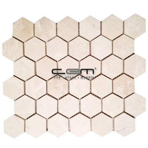 2x2 - 48mmx48mm Light Beige Botticino Honey Comb Hexagon Polished Mosaic