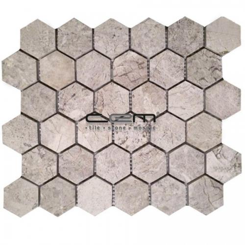 2x2 - 48mmx48mm Tundra Grey Honey Comb Hexagon Polished Mosaic