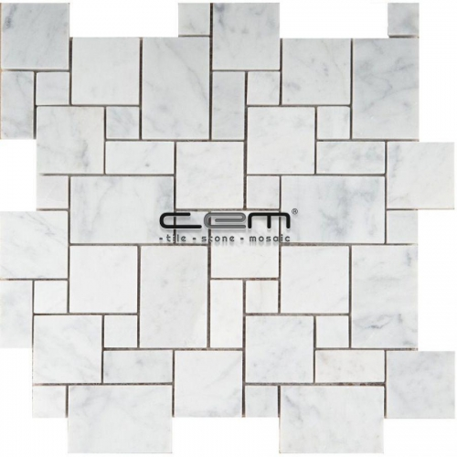 White Bianco Carrara Marble Mini Versailles Pattern Polished Mosaic
