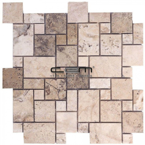 Philadelphia Travertine Mini Versailles Pattern Set Tumbled Mosaic