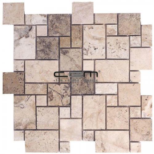 Philadelphia Travertine Mini Versailles Pattern Set Tumbled Mosaic