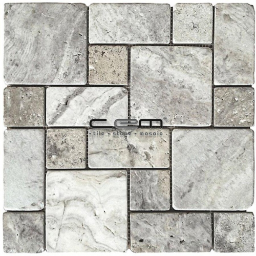Silver Travertine Roman Pattern Tumbled Mosaic