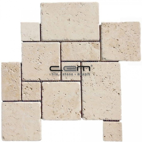 Ivory Classic Travertine French Pattern Set Tumbled Mosaic