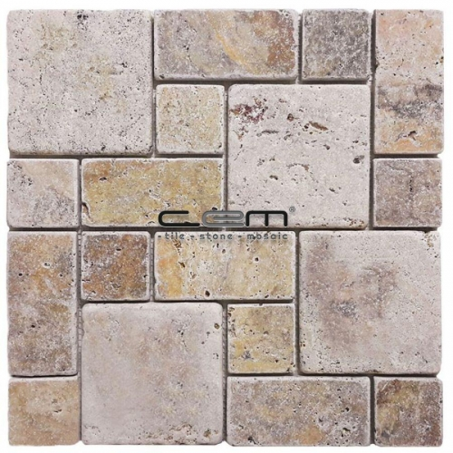 Scabas Travertine Roman Pattern Tumbled Mosaic