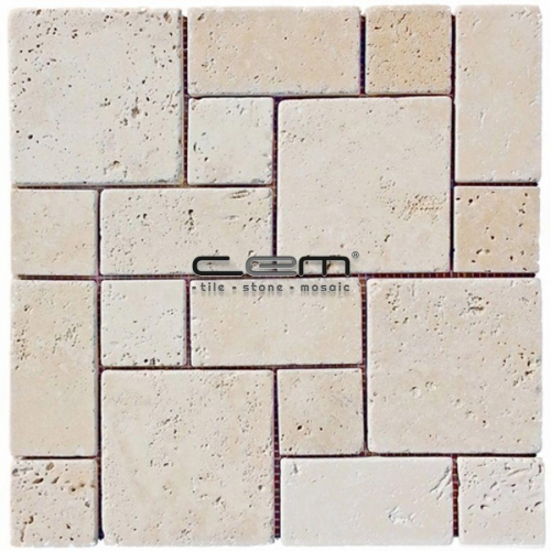 Ivory Classic Travertine Roman Pattern Tumbled Mosaic