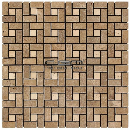 Noche Ivory Travertine Pinwheel Mini Target Tumbled Mosaic