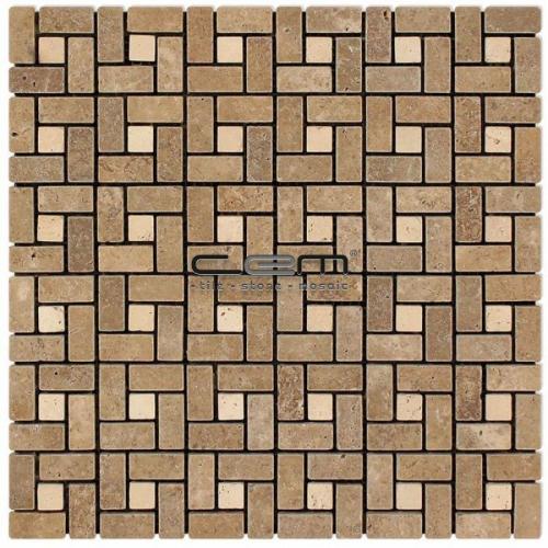 Noche Ivory Travertine Pinwheel Mini Target Tumbled Mosaic
