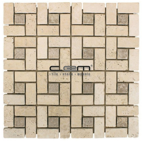 Ivory Noche Travertine Pinwheel Target Tumbled Mosaic