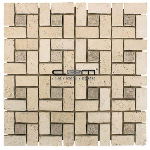 Ivory Noche Travertine Pinwheel Target Tumbled Mosaic