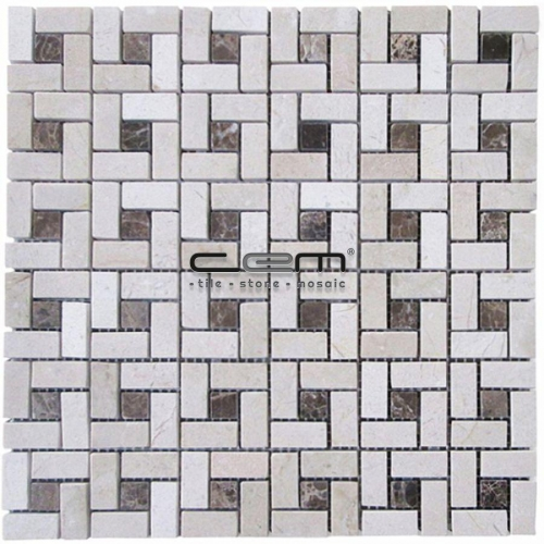 Beige Marble Dark Emperador Mini Target Pinwheel Tumbled Mosaic