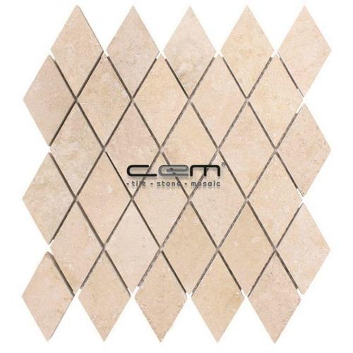 2x2 - 48mmx48mm Diamond Ivory Travertine Filled Honed Mosaic