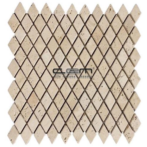 1x1 - 23mmx23mm Ivory Classic Travertine Diamond Tumbled Mosaic