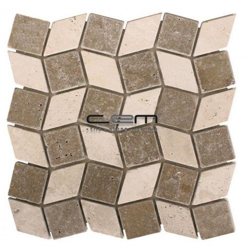 2x2 - 48mmx48mm Ivory Noche Diamond Tumbled Mosaic