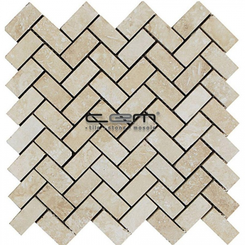 1x2 - 23mmx48mm Ivory Travertine Herringbone Filled Honed Mosaic