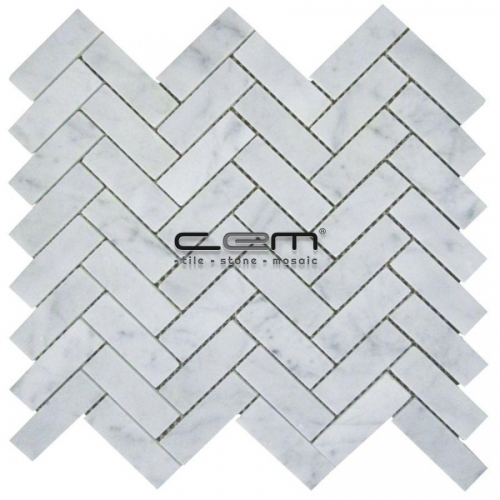 1x3 -25mmx75mm White Bianco Carrara Marble Herringbone  Polished Mosaic
