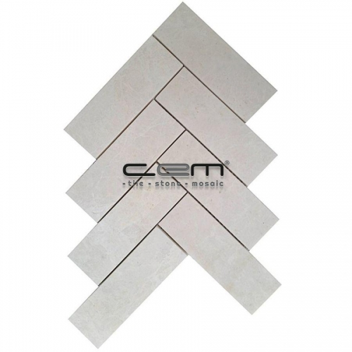 2x6 - 48mmx150mm White Beige Marble Herringbone Polished Mosaic