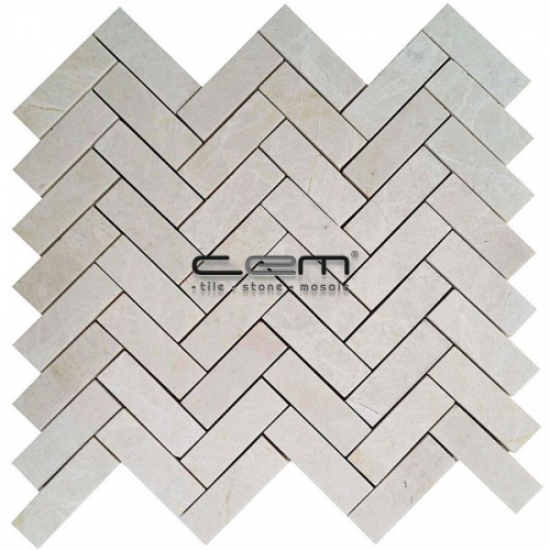 1x3 -25mmx75mm White Beige Marble Herringbone Polished Mosaic