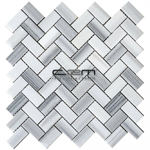 1x2 - 23mmx48mm Equator Herringbone Filled Honed Mosaic