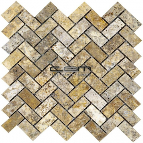 1x2 - 23mmx48mm Scabas Travertine Herringbone Tumbled Mosaic