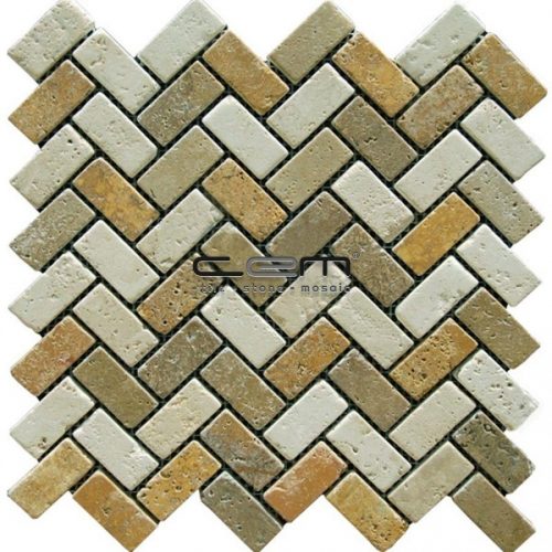 1x2 - 23mmx48mm Multicolor Mix Travertine Herringbone Tumbled Mosaic