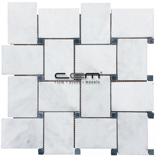 White Carrara Marble Dot Black Big Basketweave Polished Mosaic