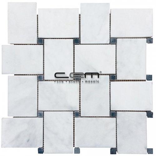 White Carrara Marble Dot Black Big Basketweave Polished Mosaic