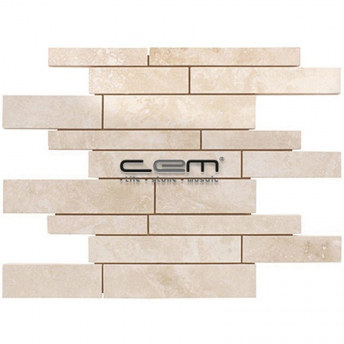 Ivory Travertine Random Strip Filled Honed Mosaic