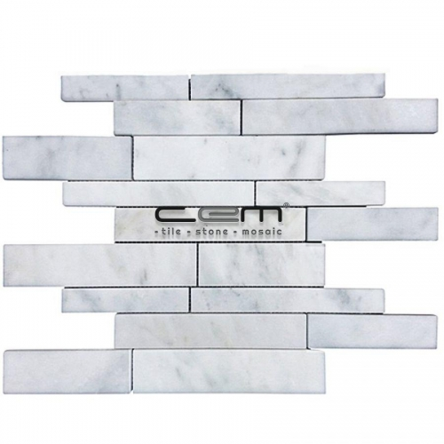 White Bianco Carrara Marble Random Strip Polished Mosaic