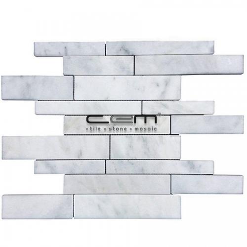 White Bianco Carrara Marble Random Strip Polished Mosaic