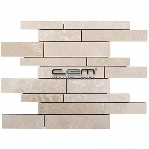 Botticino Beige Marble Random Strip  Botticino Polished Mosaic